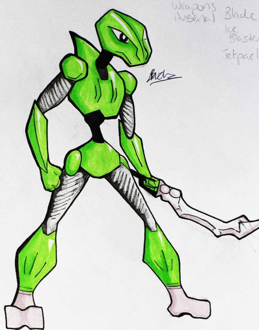 Character Design - Cyber Lizard Hunter