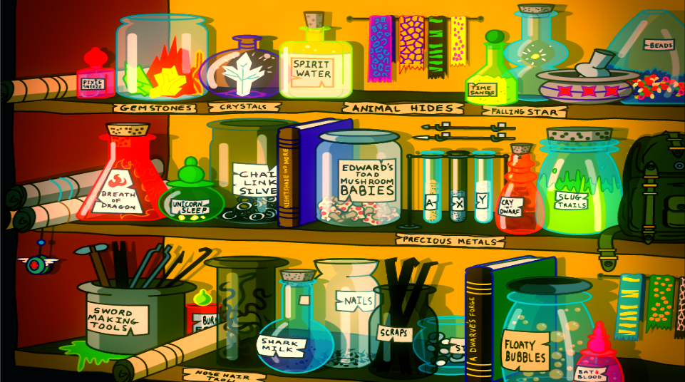 Curse of the Unicorn Game Background for the Foyer Shelf Scene