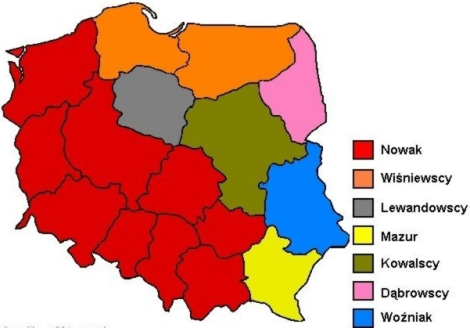 List of most popular surnames in Poland
