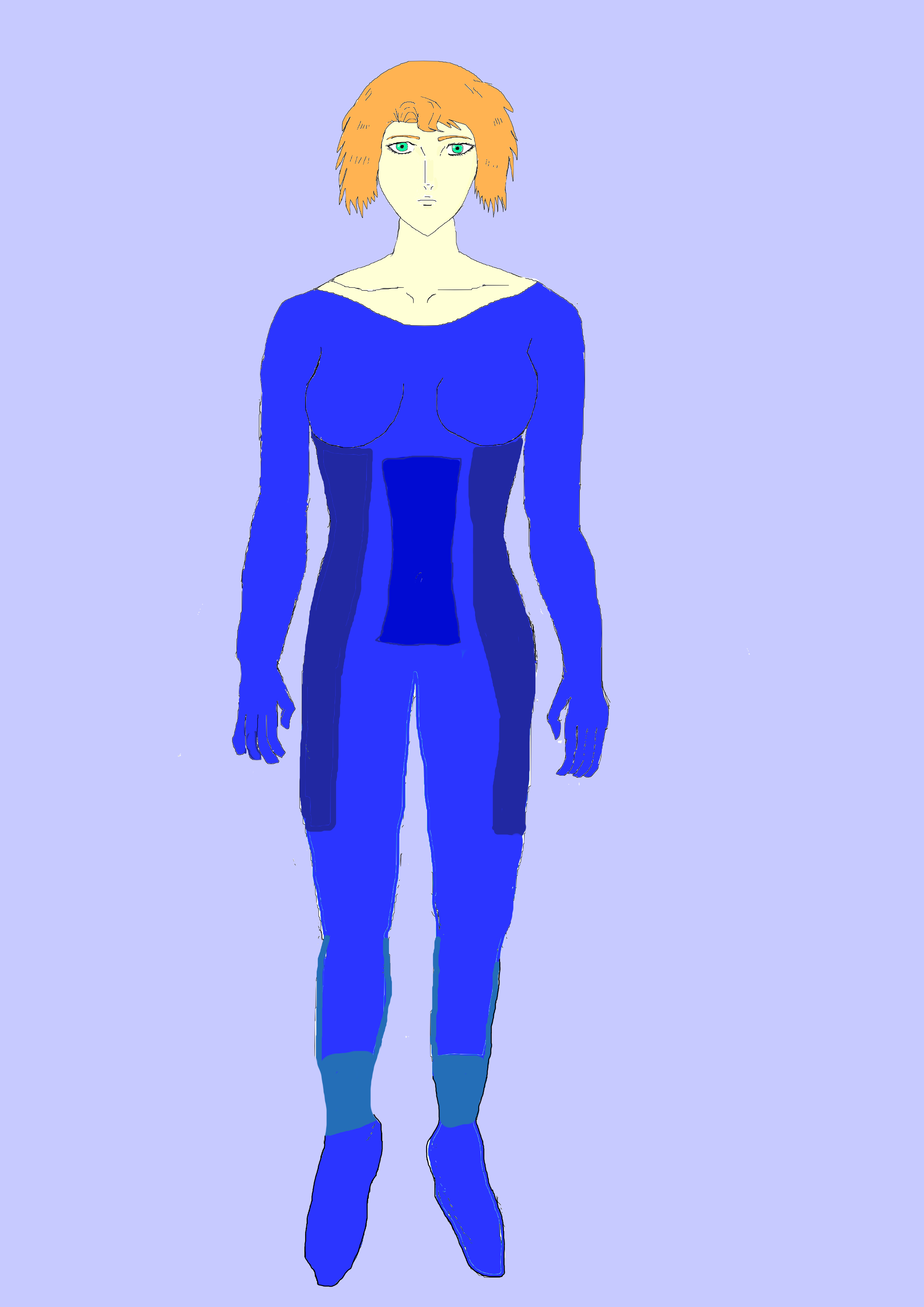Anime Girl in Blue Suit