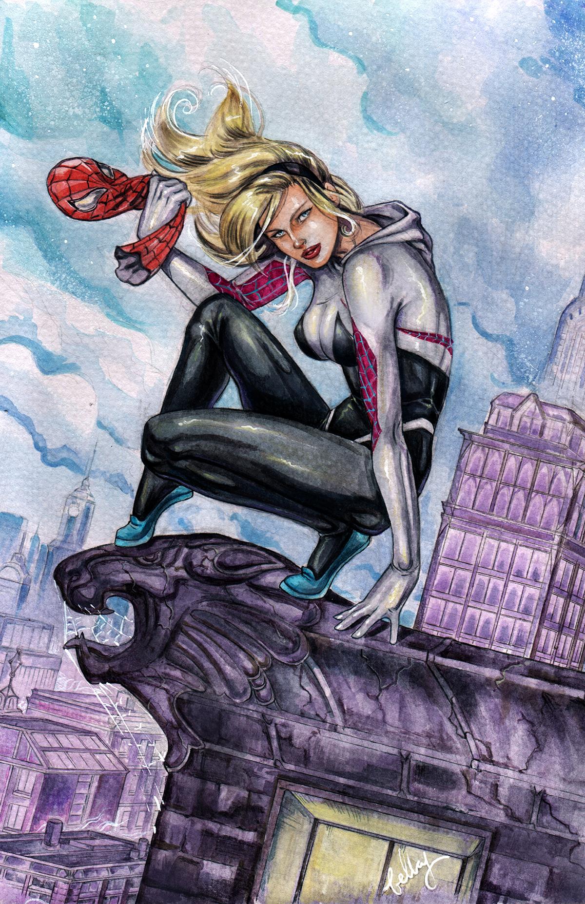 Watercolor Spider Gwen