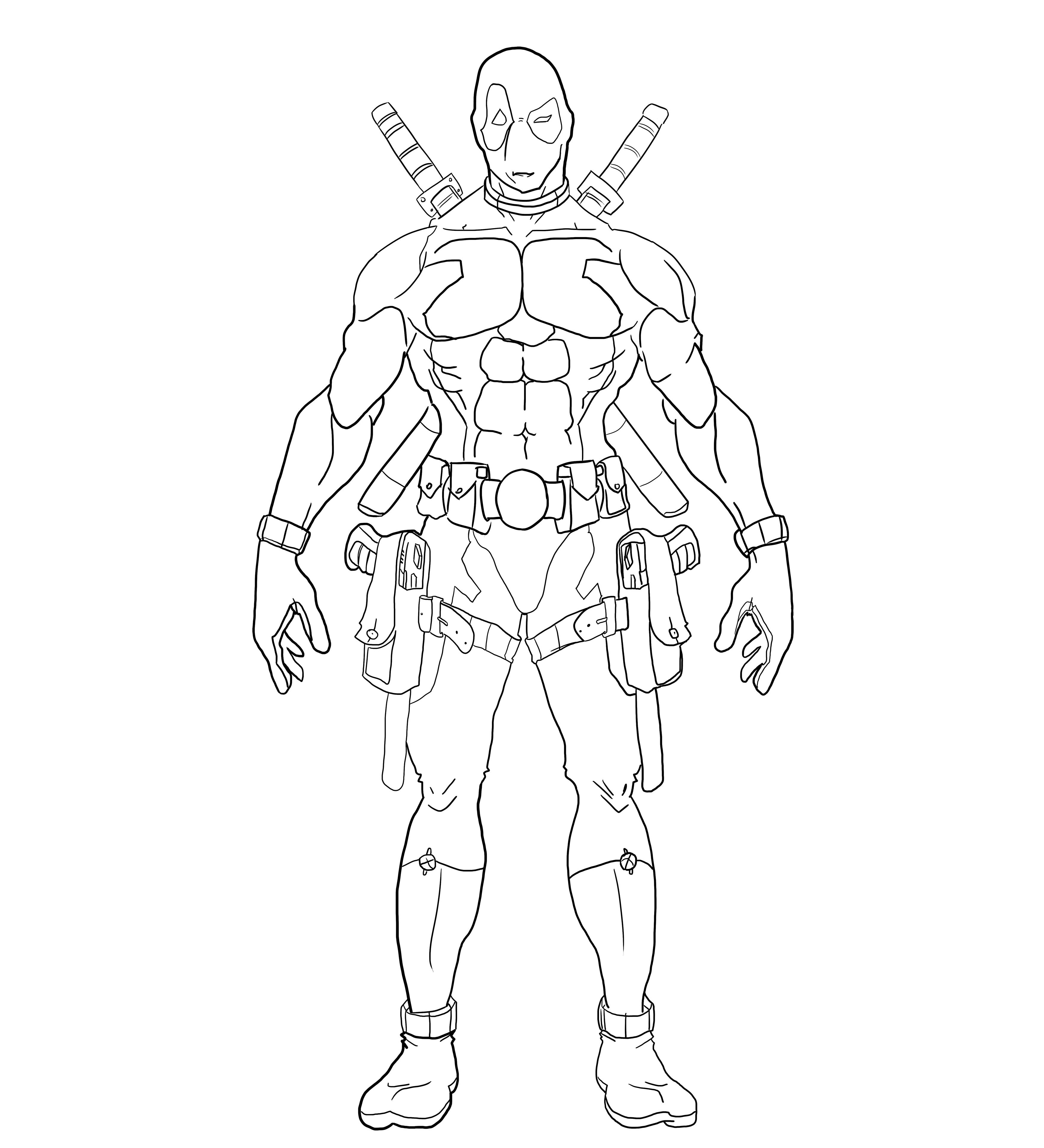Deadpool Line Art