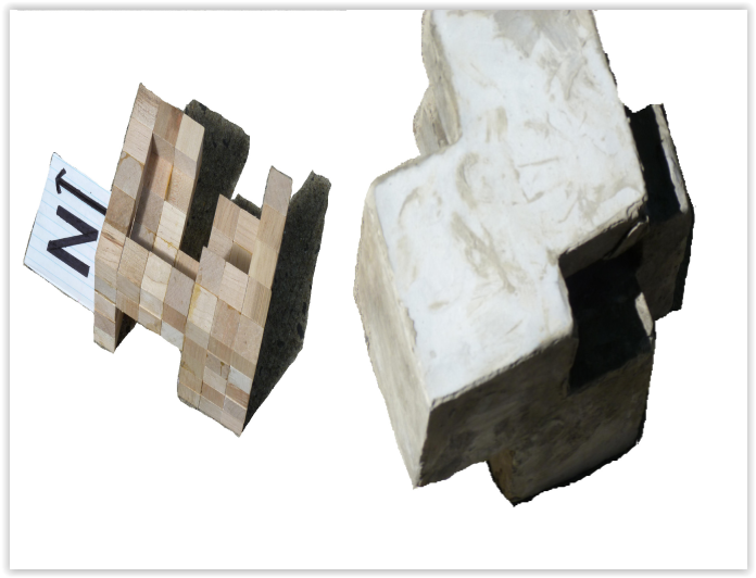 Open Space of Wood Blocks Model, done in cement