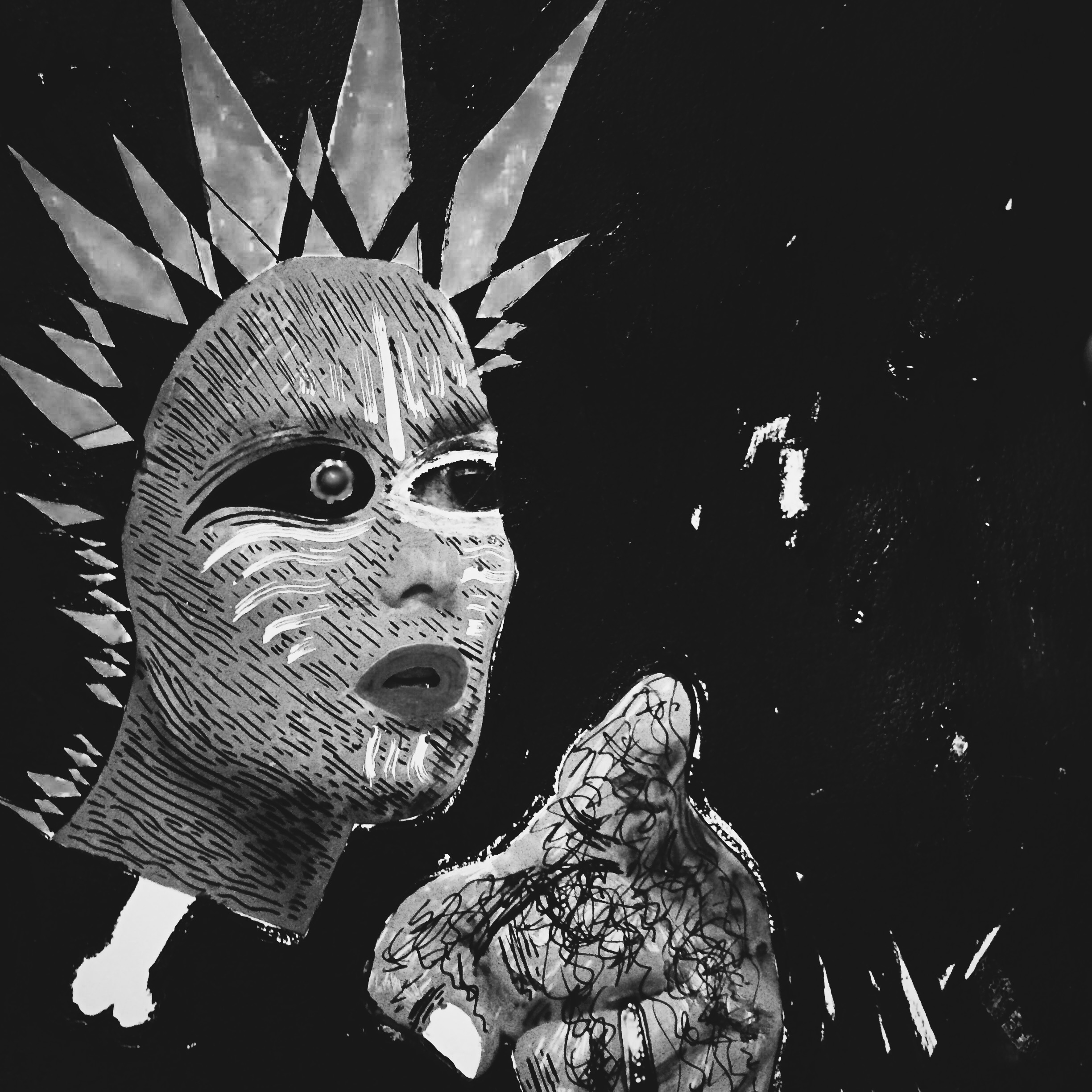 Tribal decapitated punk chic floating in space