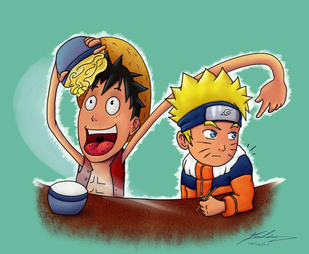 Luffy stealing Naruto's Ramen