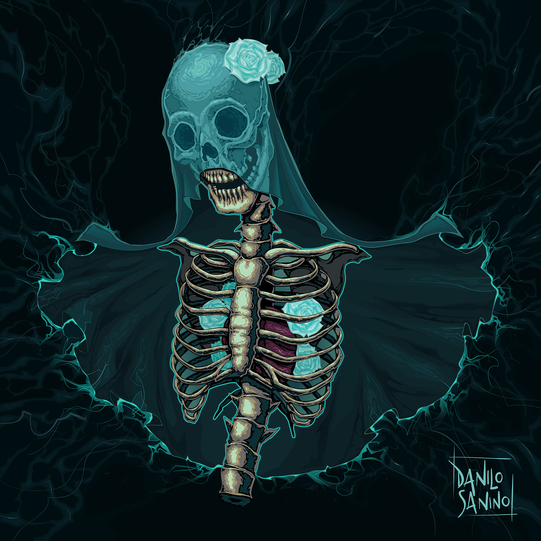 Skeleton with veil and roses