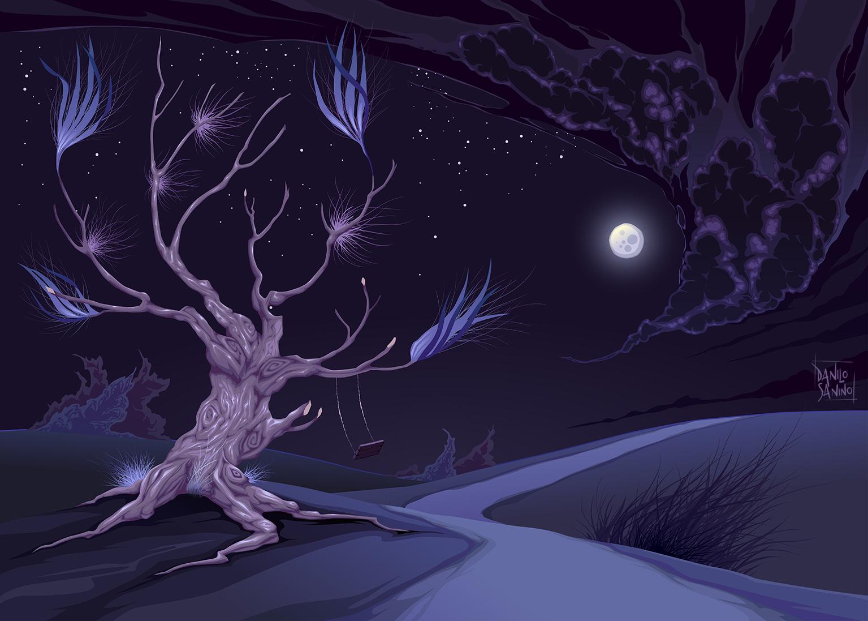 Romantic landscape in the night