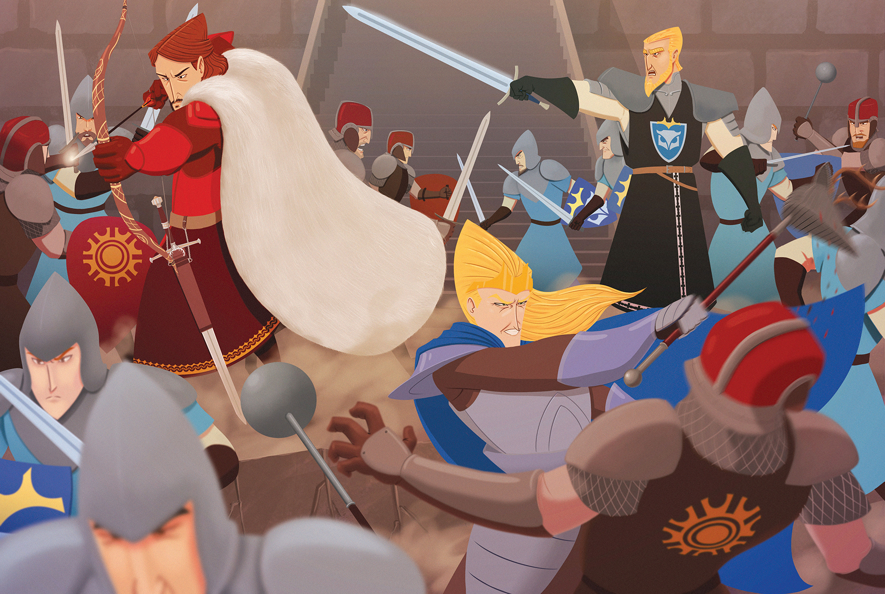 Battle in the courtyard
