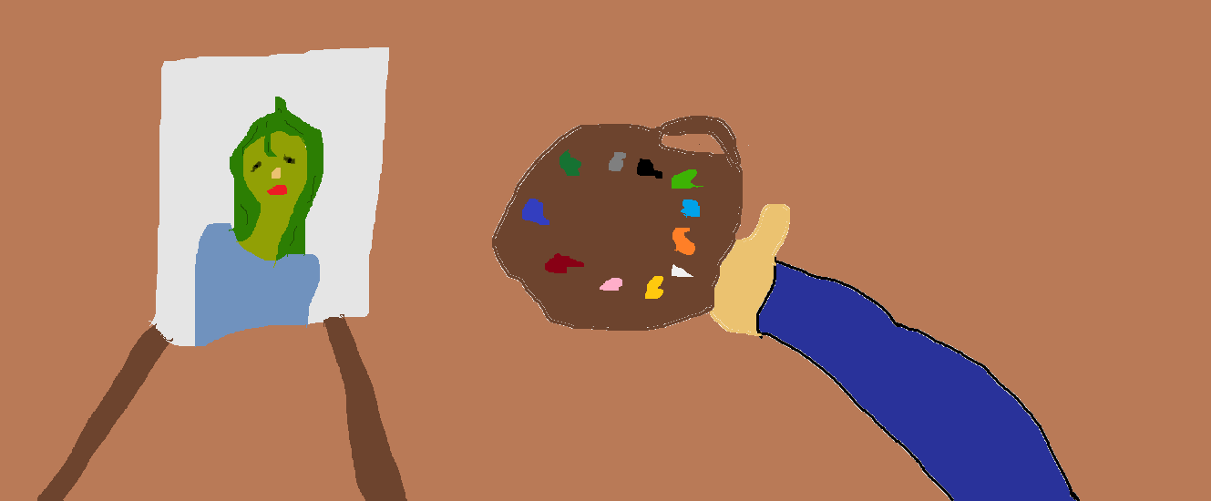 A dude painting a painting