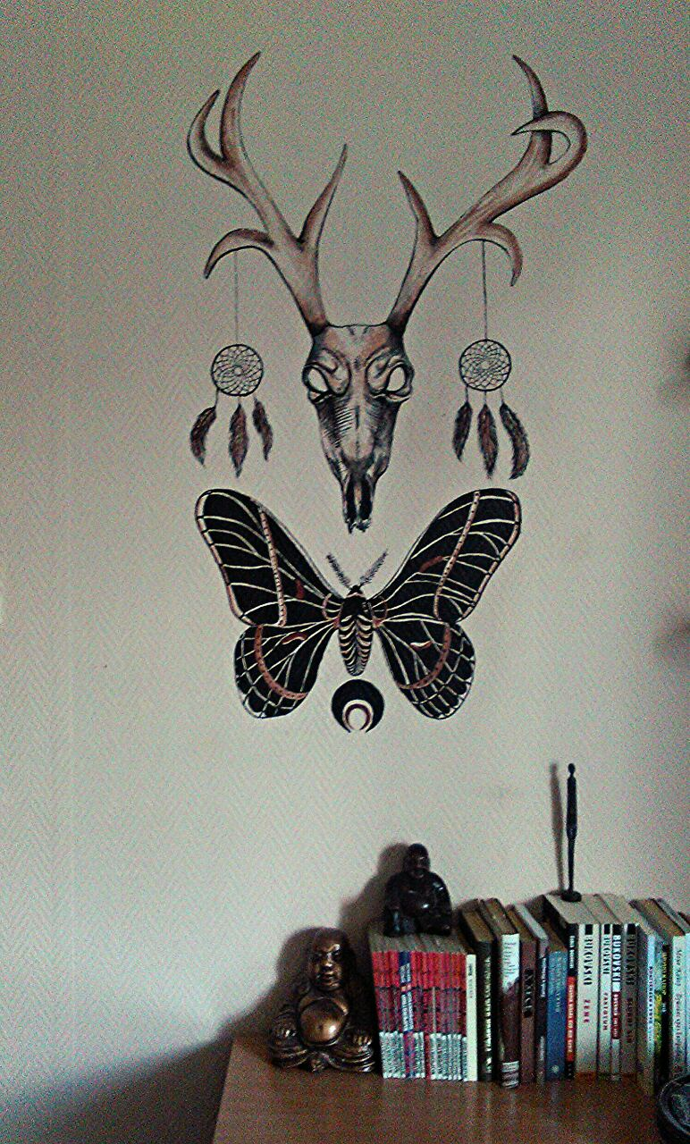deer and butterfly