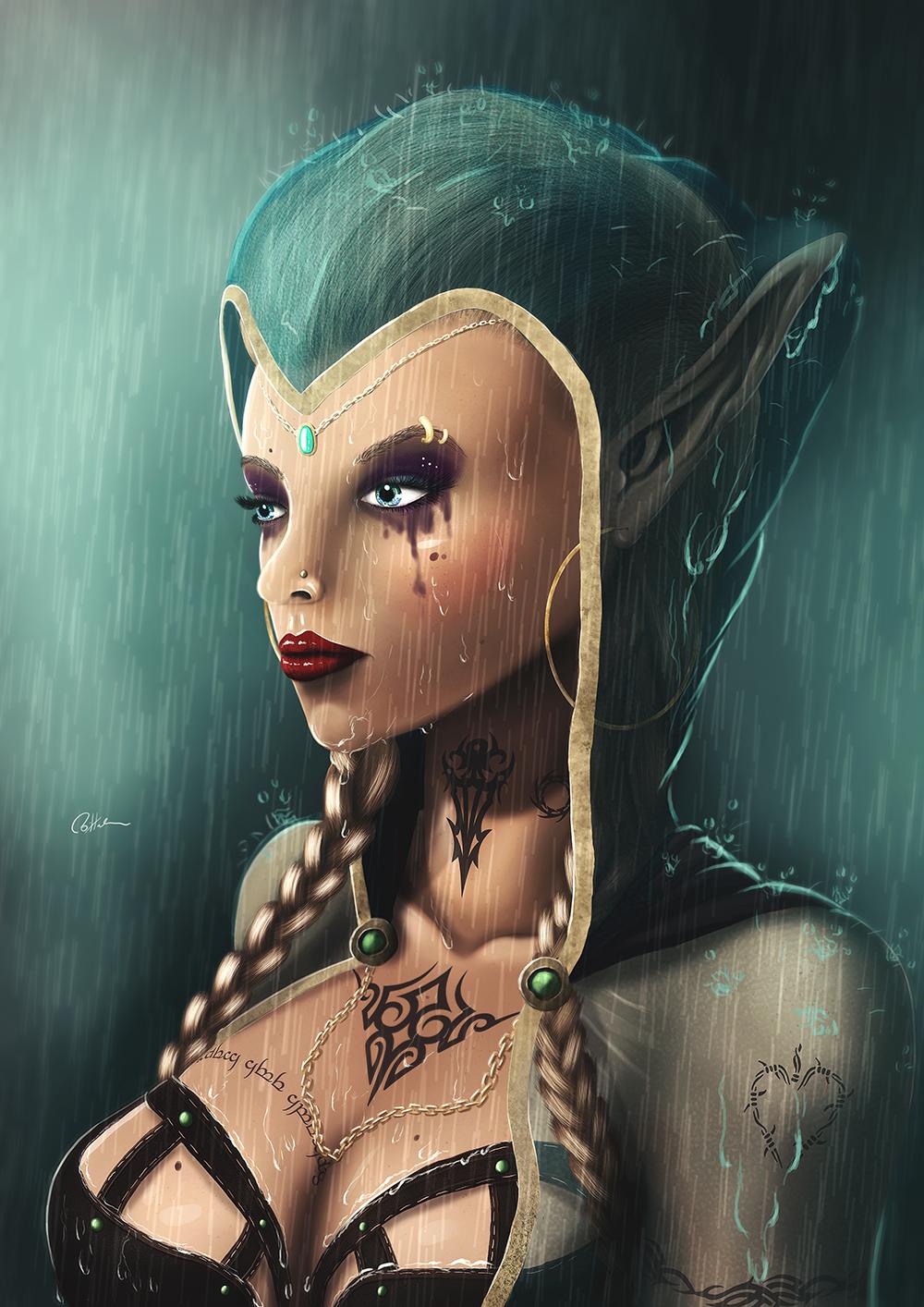 Female Elf In The Rain.