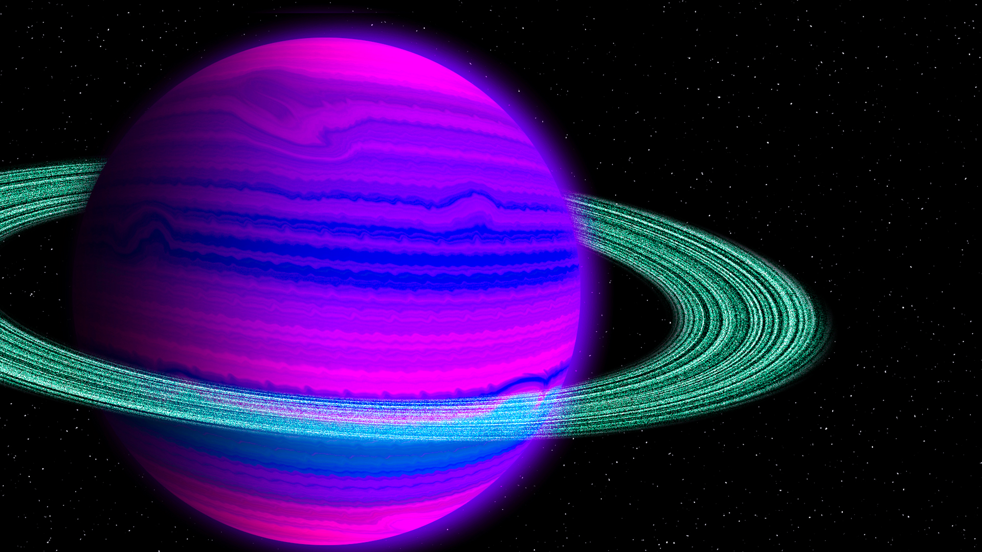 Blue and Pink Planet with Green Rings