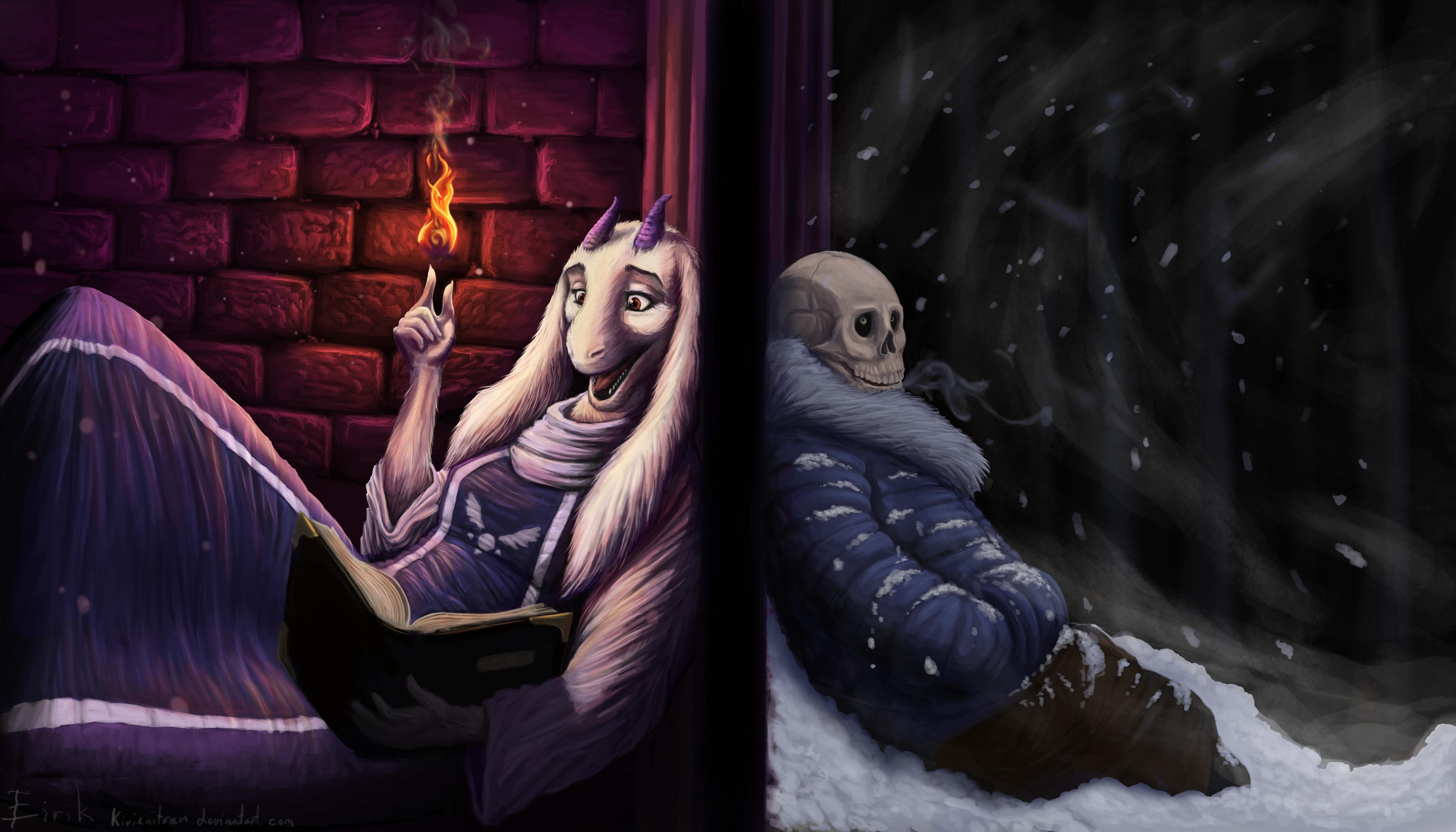 Goat lady telling jokes to a skeleton