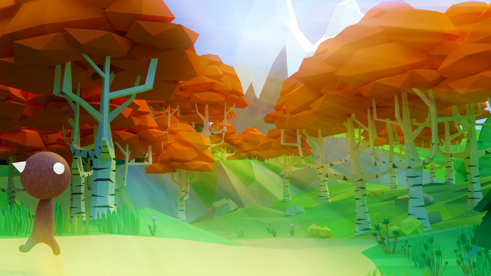Low Poly 3D Autumn Forest