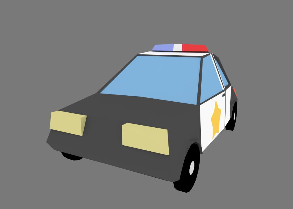 low poly Cop / police Car - Blender 3d