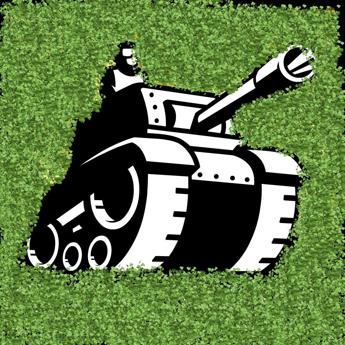 Tank in a garden