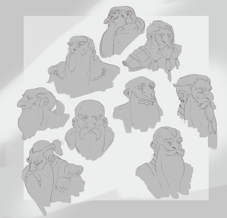 Dwarfs late night sketching