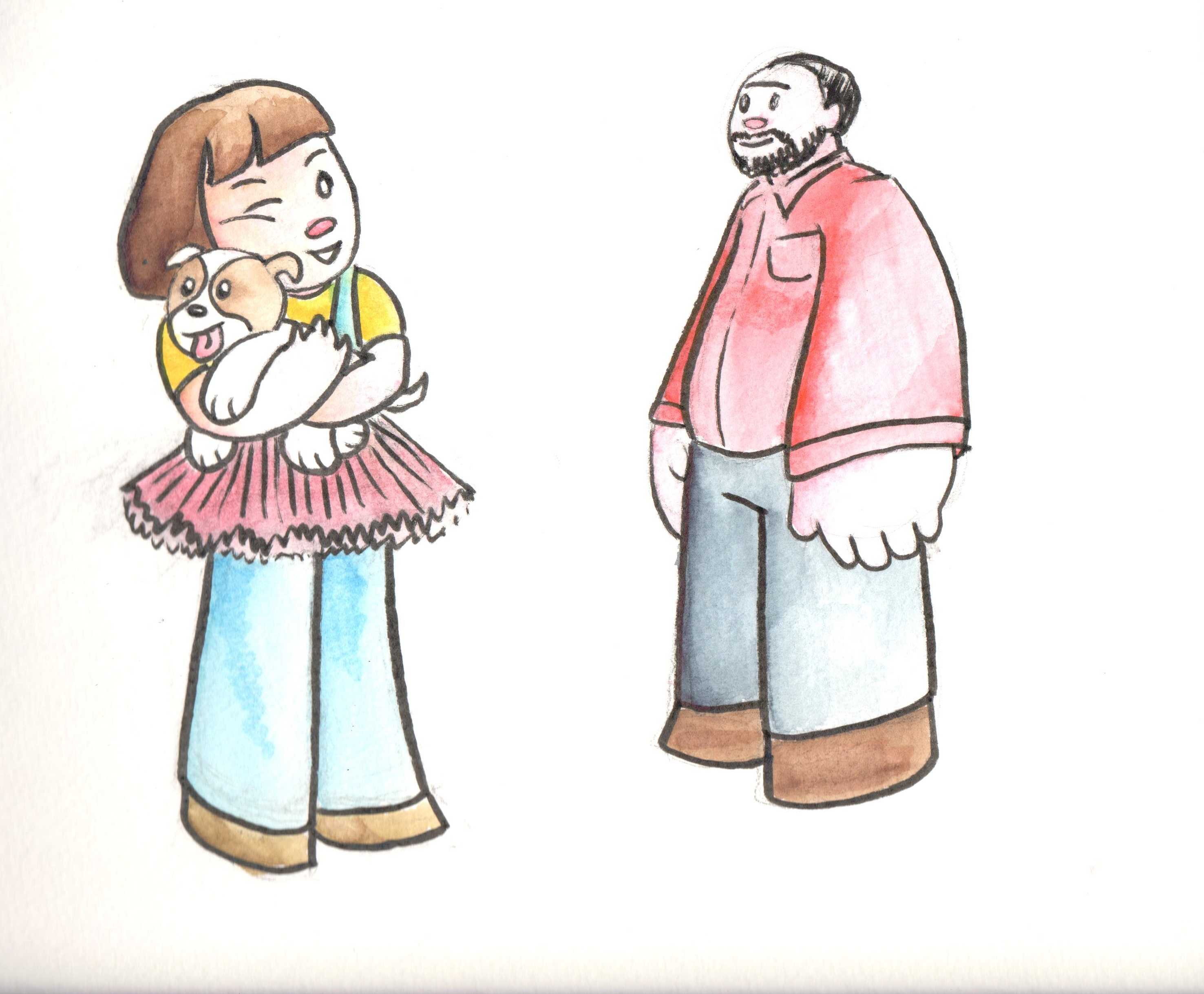 Character Design: Emily, Scuppers, and Emily's dad.