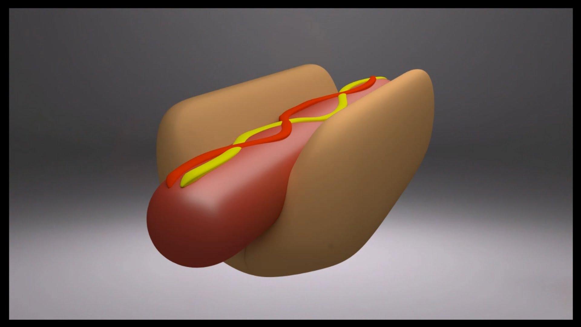 Cartoon Hot Dog - Blender ( time lapse )