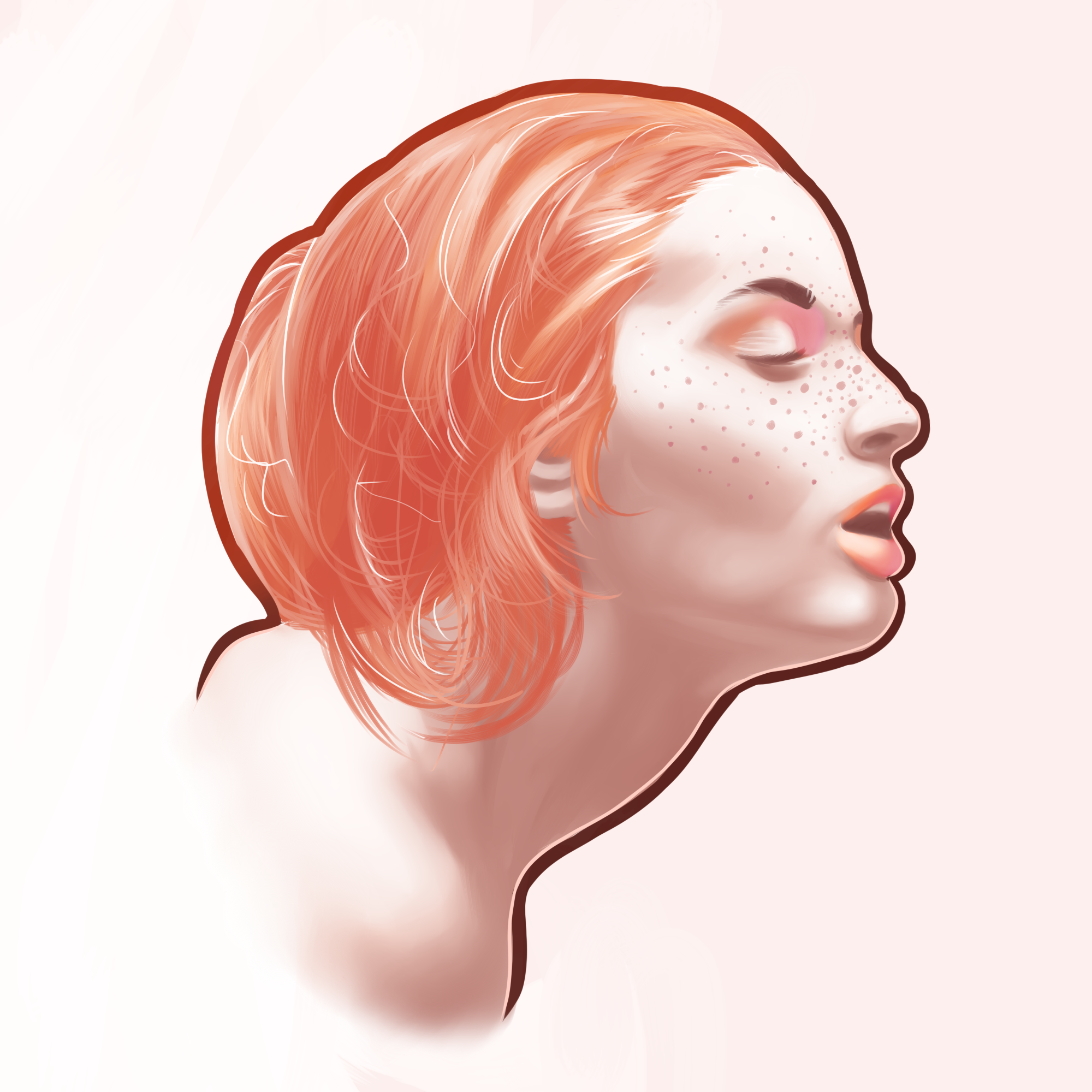 Redhead painting