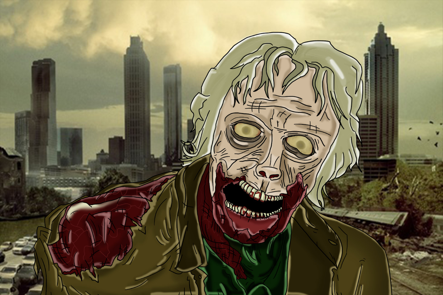 Zombie from TWD Painting