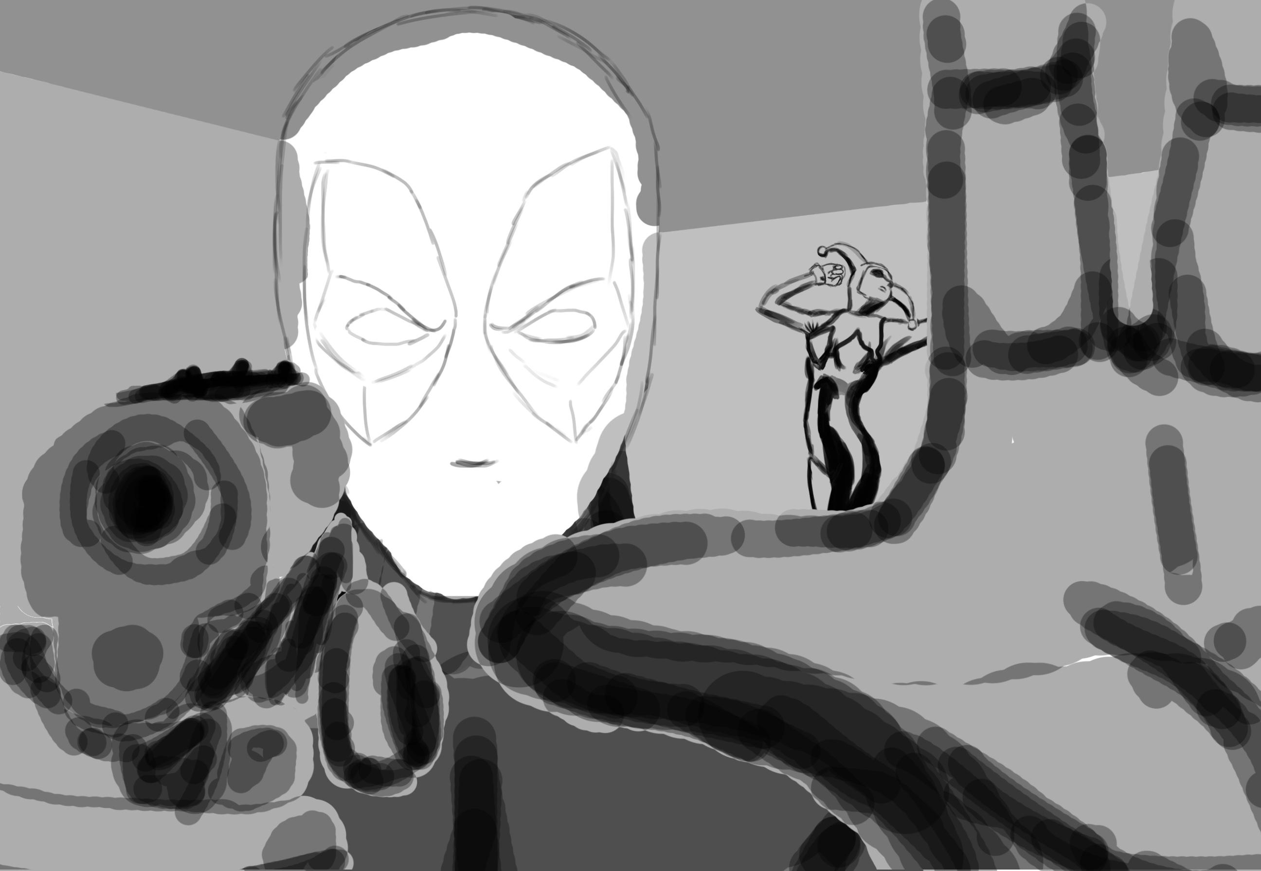 deadpool harley sketch