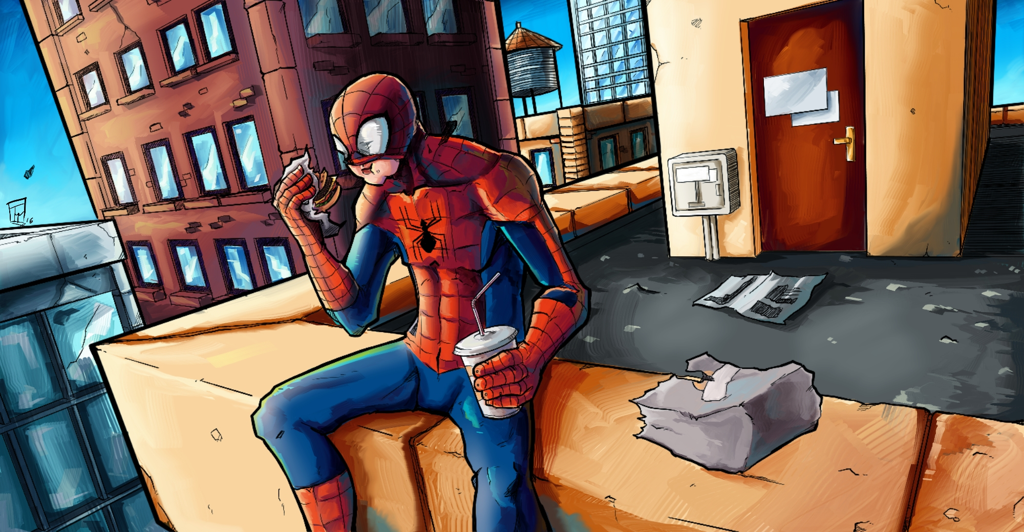Spidey in the roof