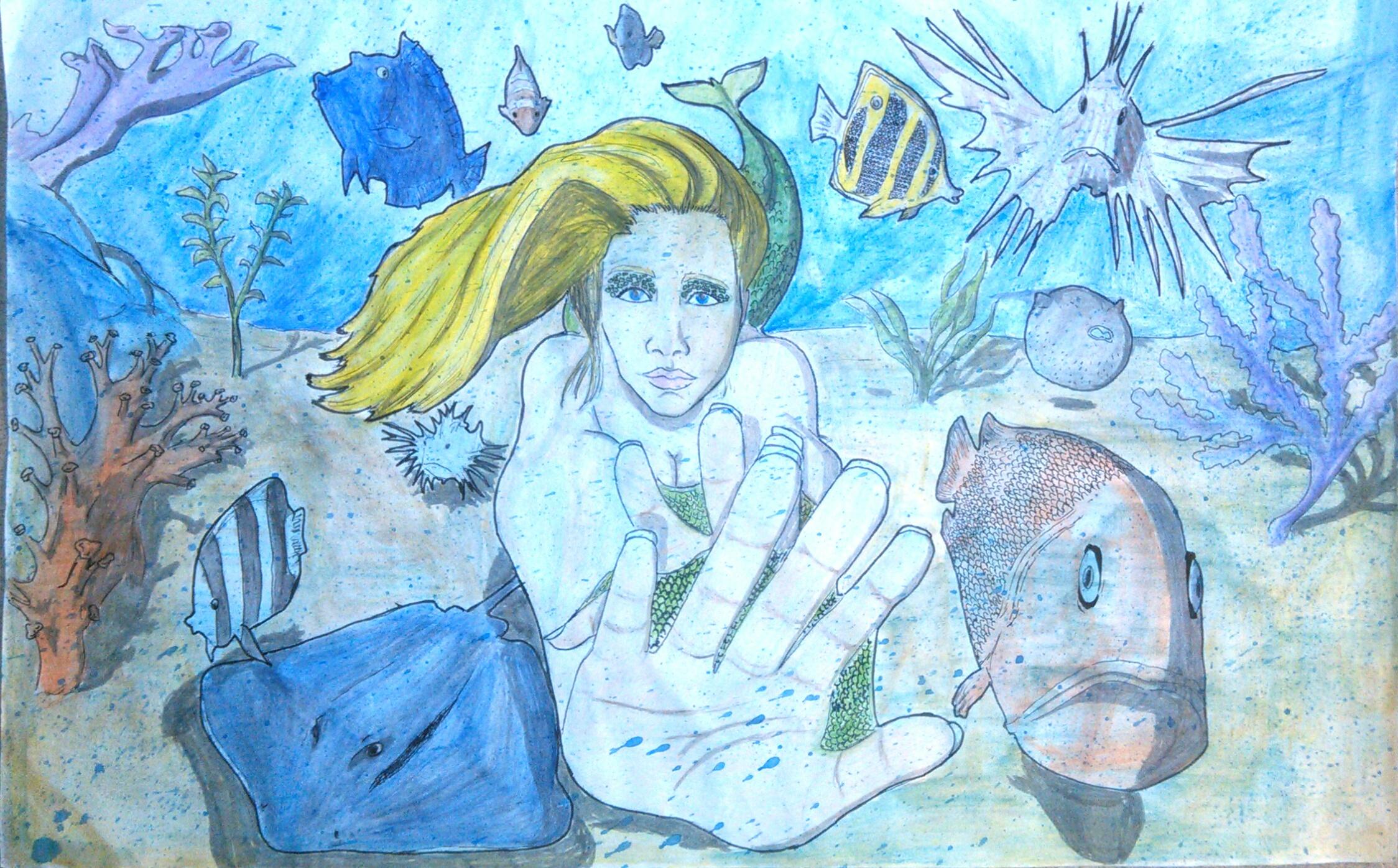 Mermaid in Coral reef