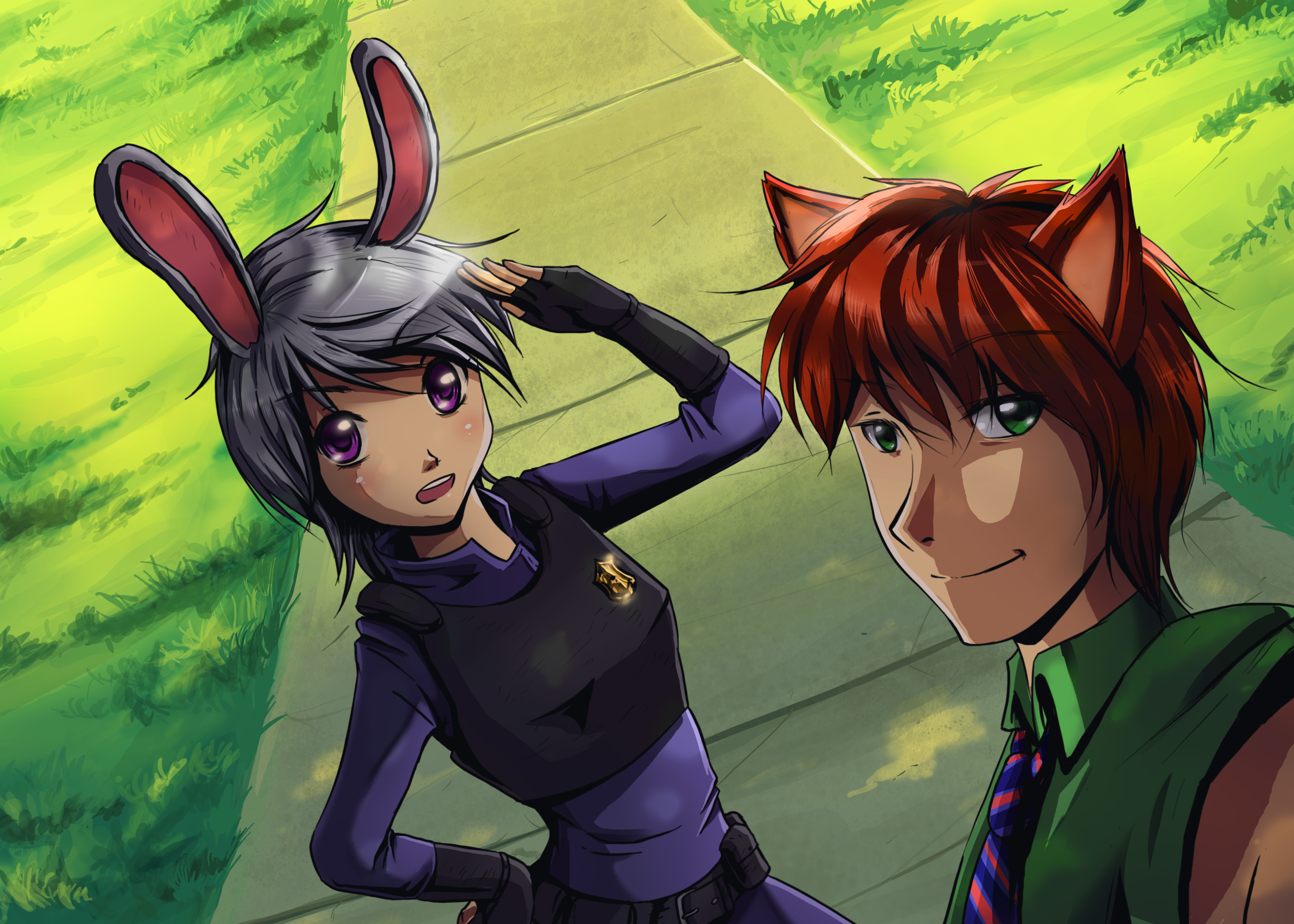 Zootopia: Judy hopps and Nick wilde (in anime)