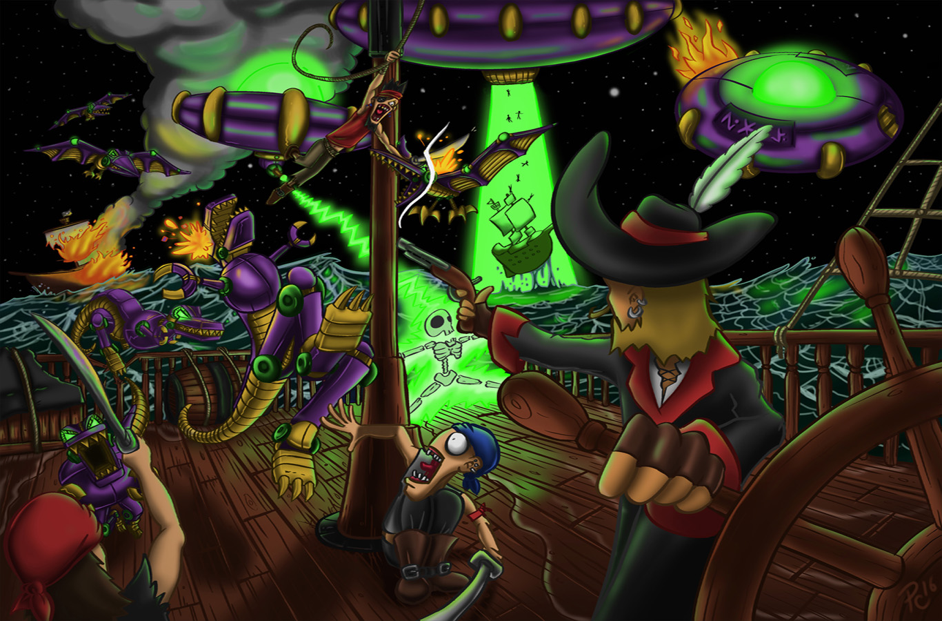 Pirates vs Alien Dinosaur Robots!