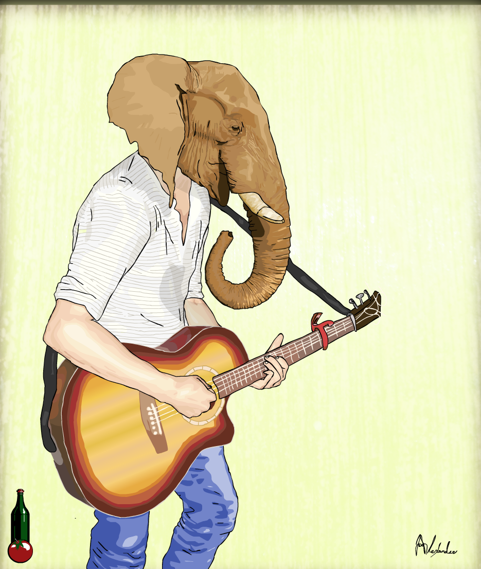 Elephant Musician - Bamboo