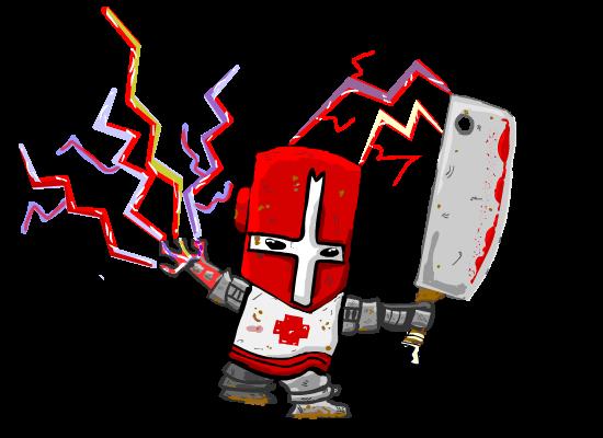 worn red castle crasher