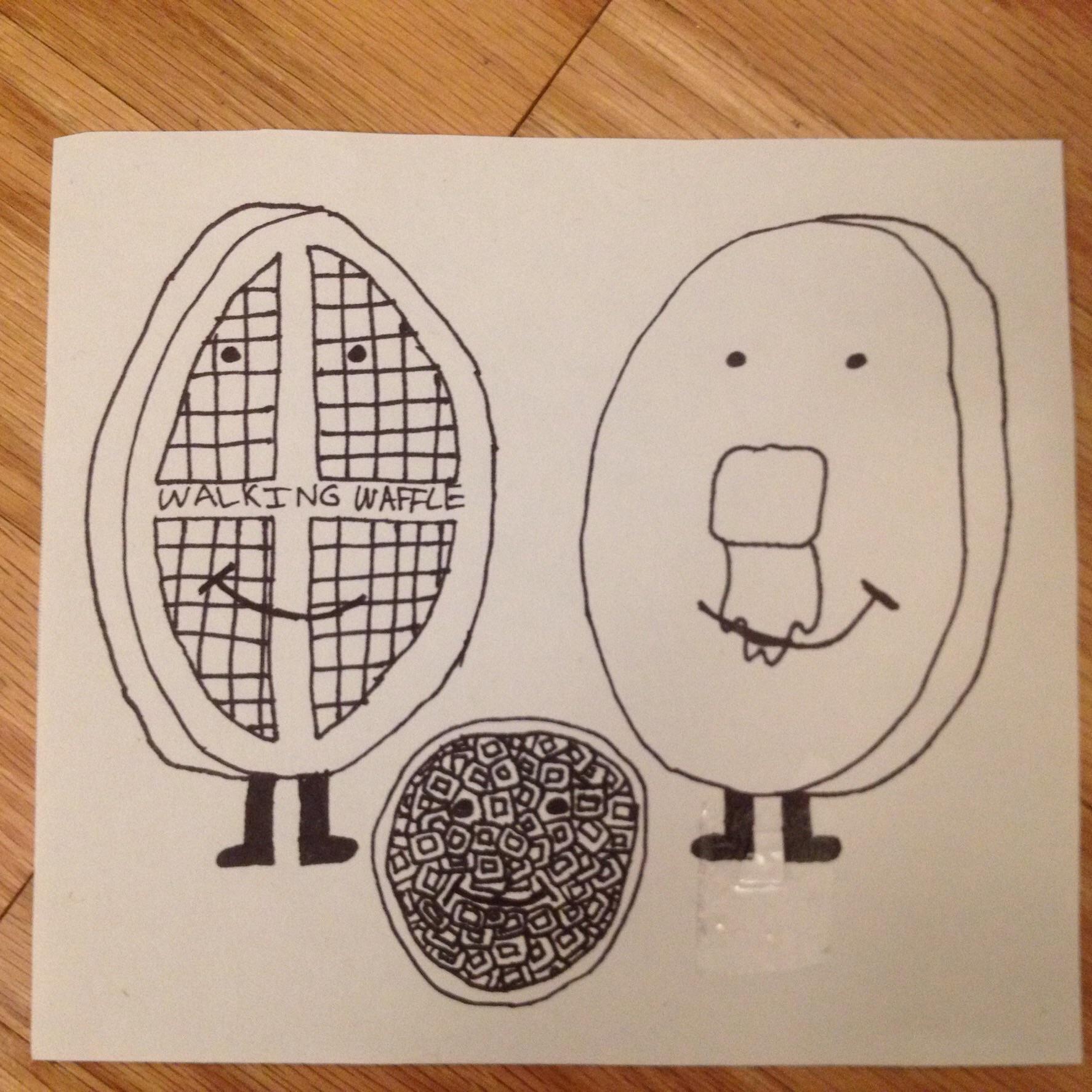 A Doodle of Walking Waffle and Pancake Pal!