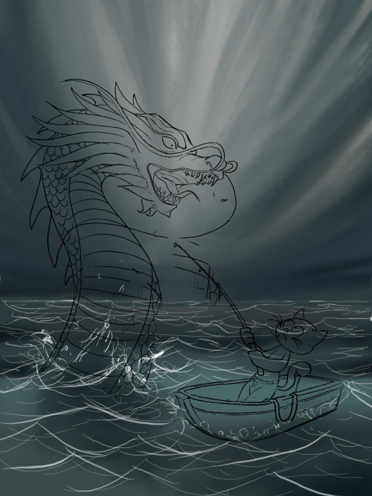 Dragon vs Kitten WIP