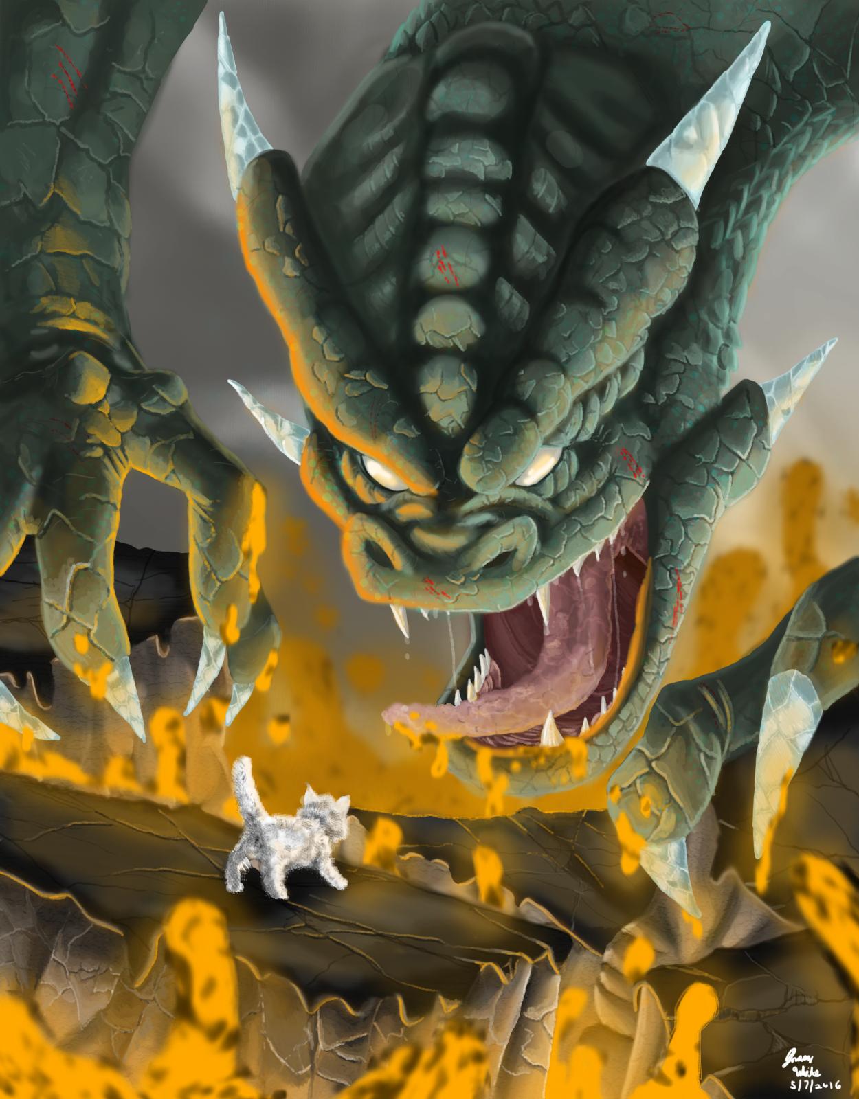 Fluffy vs Mr. Monster (fluffy's the dragon)