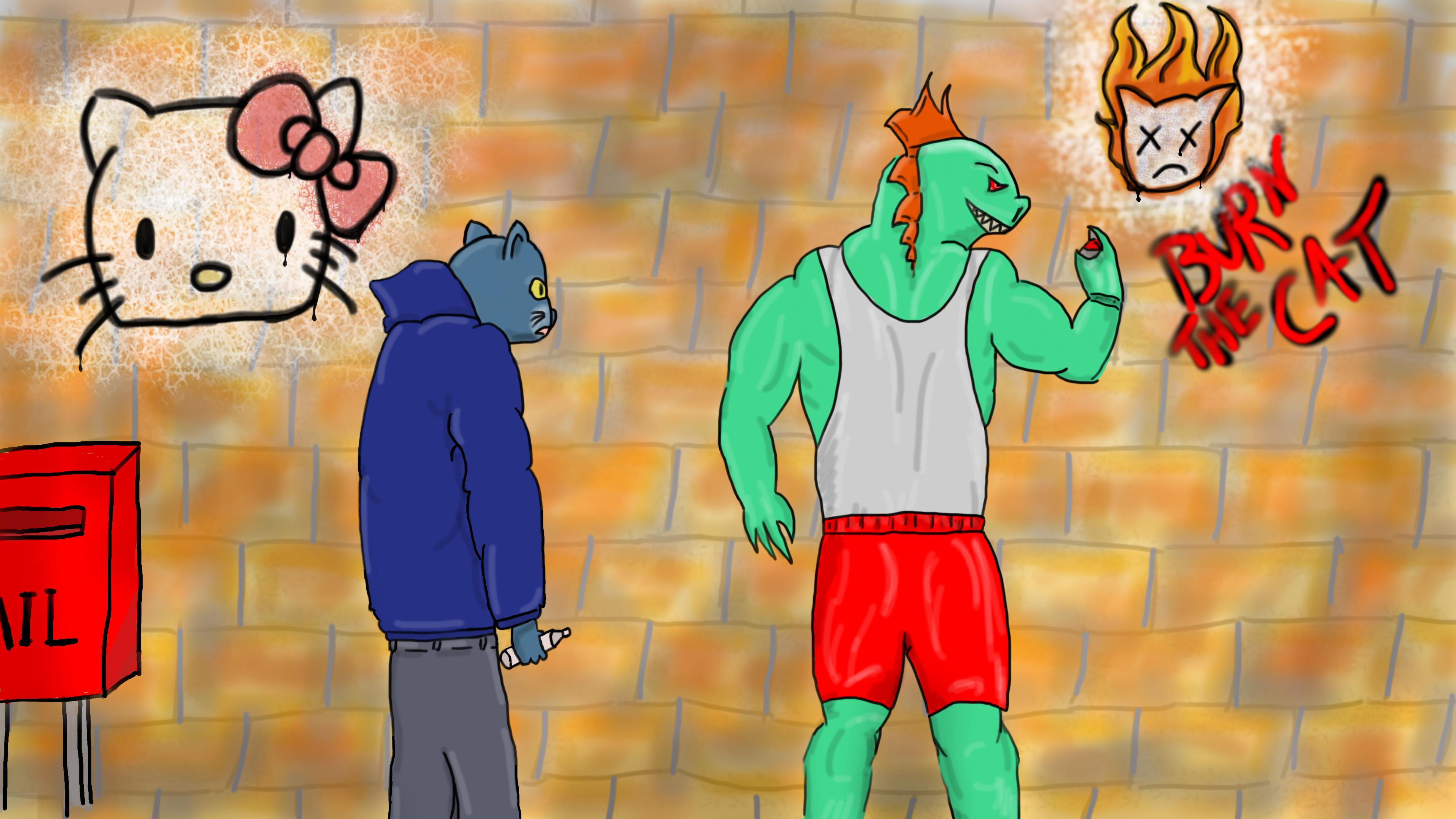 Dragons vs kittens Graffiti Battle