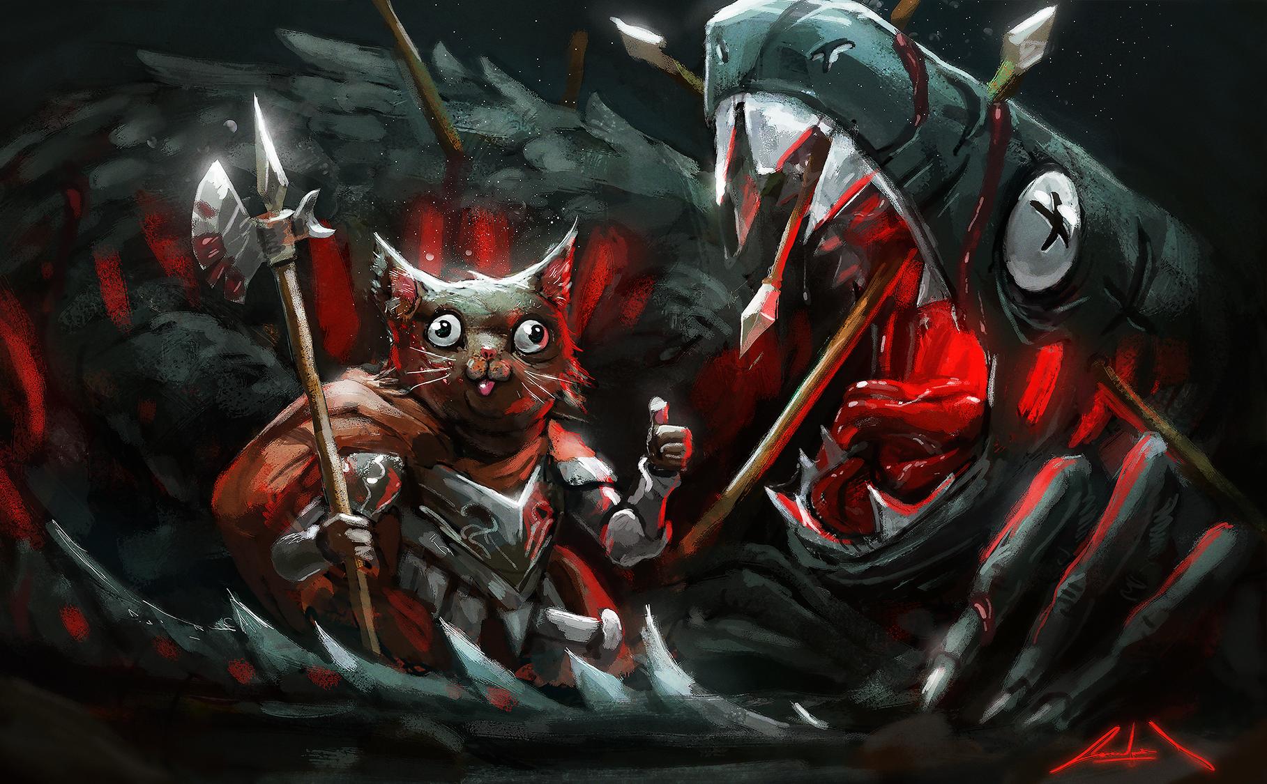 cat vs dragon