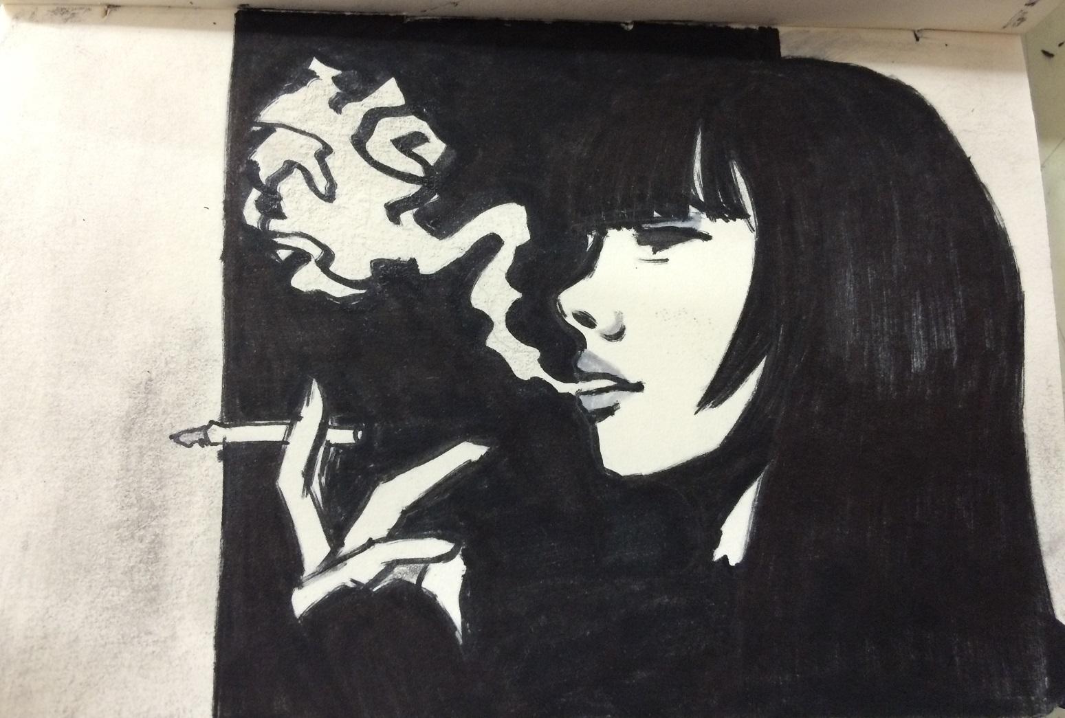 Smoking Girl Portrait