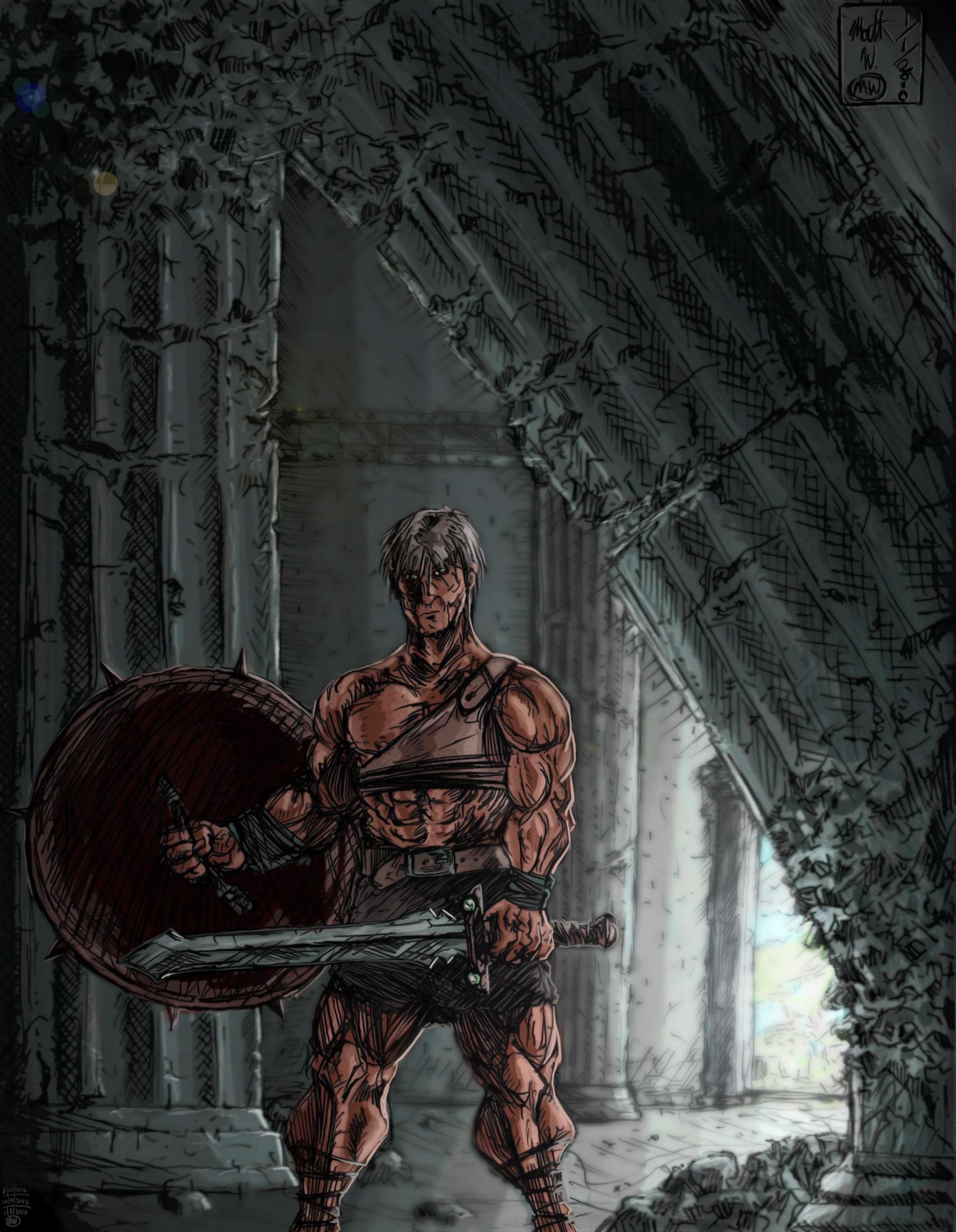 Warrior in ruins