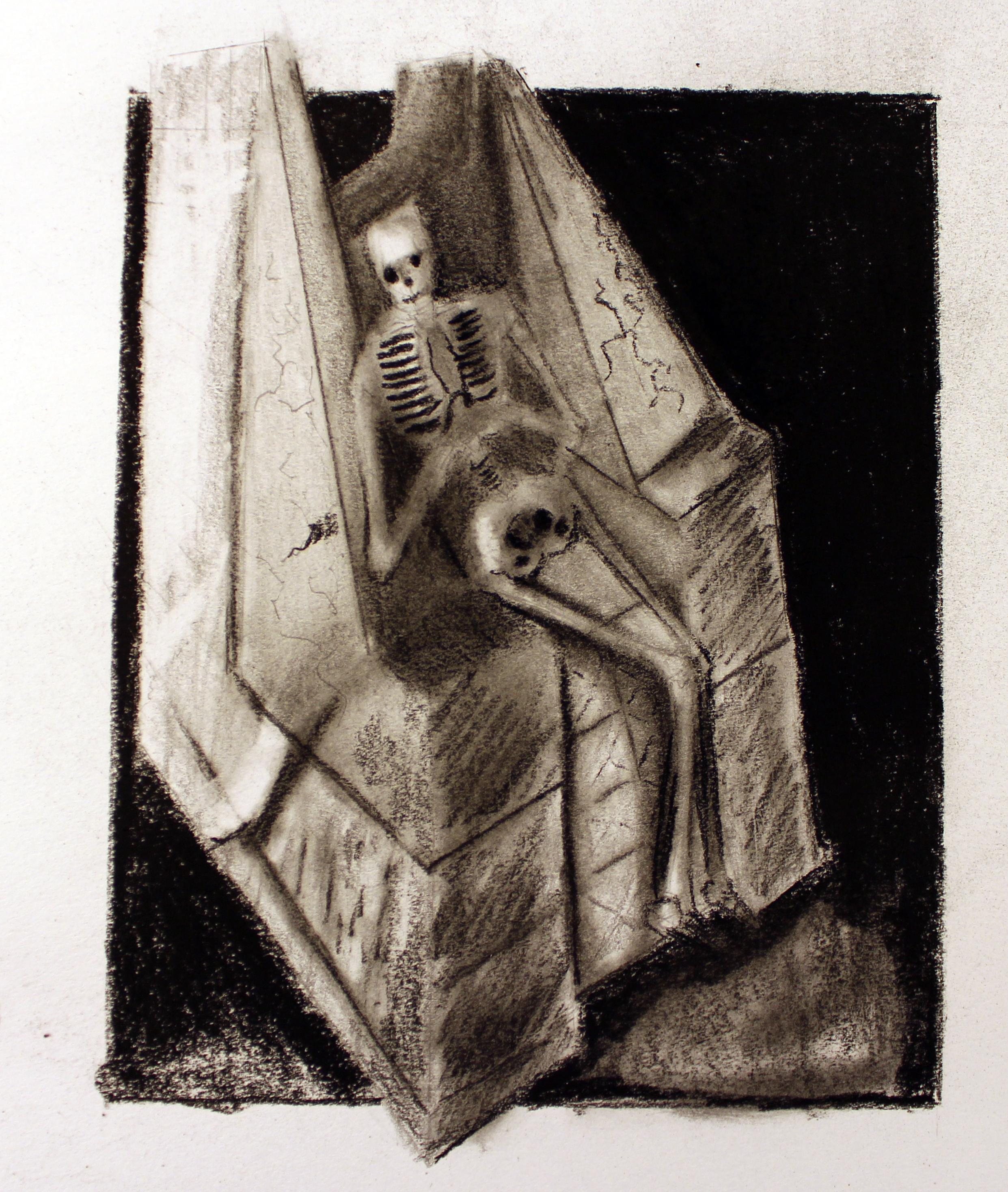 sekeleton in chair
