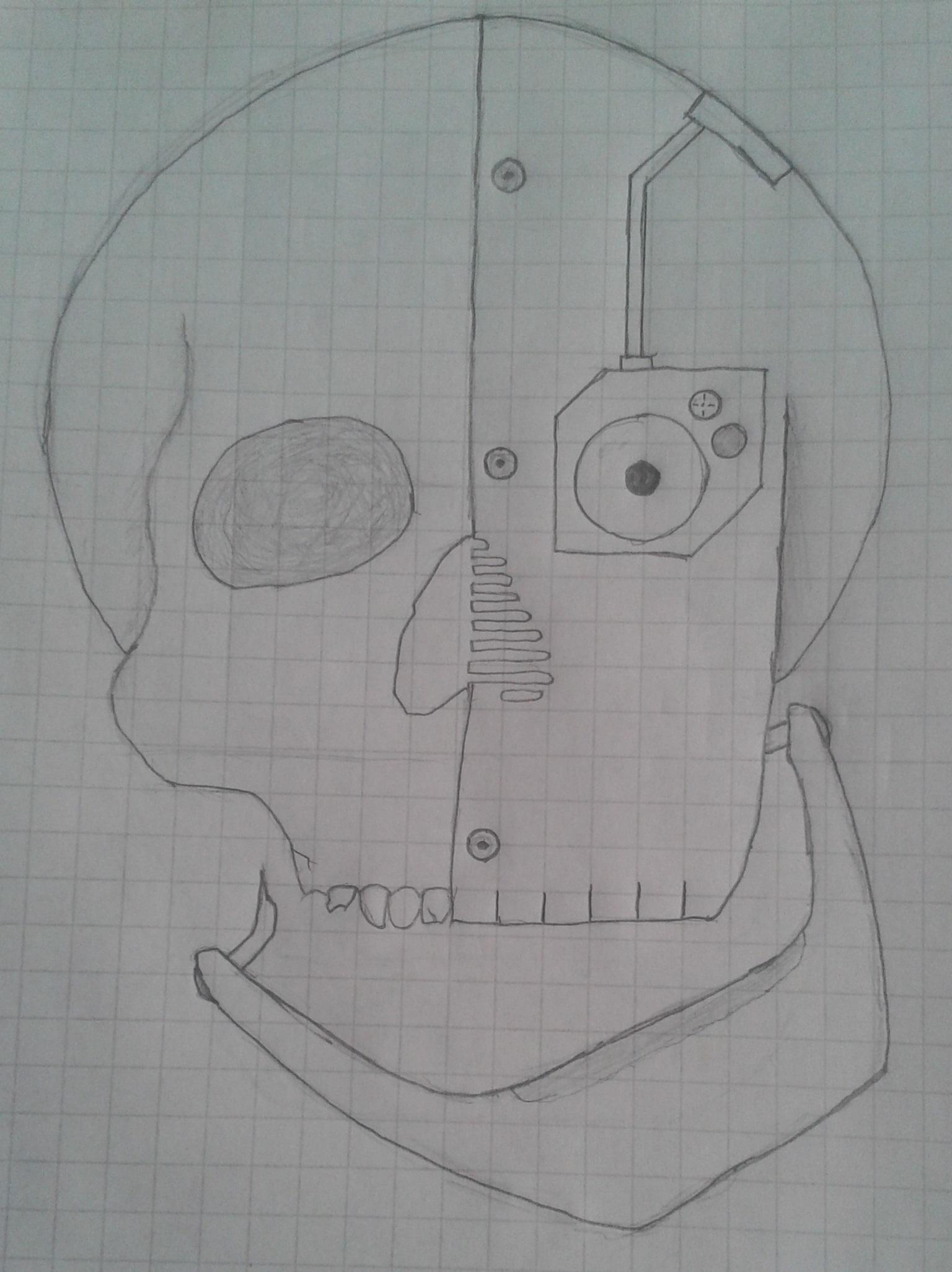 Half mechanized skull