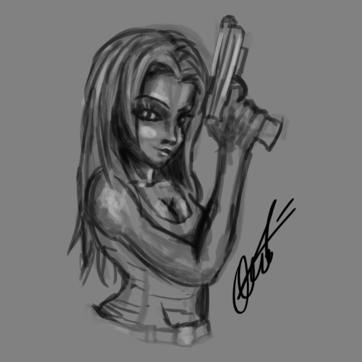 girl with gun sketch