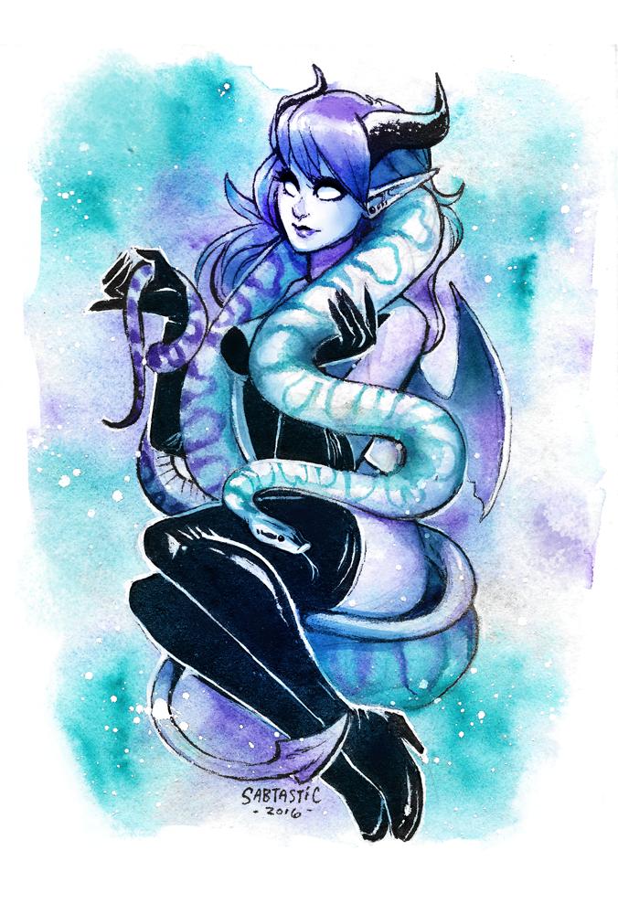 Monster Girl with Ball Python