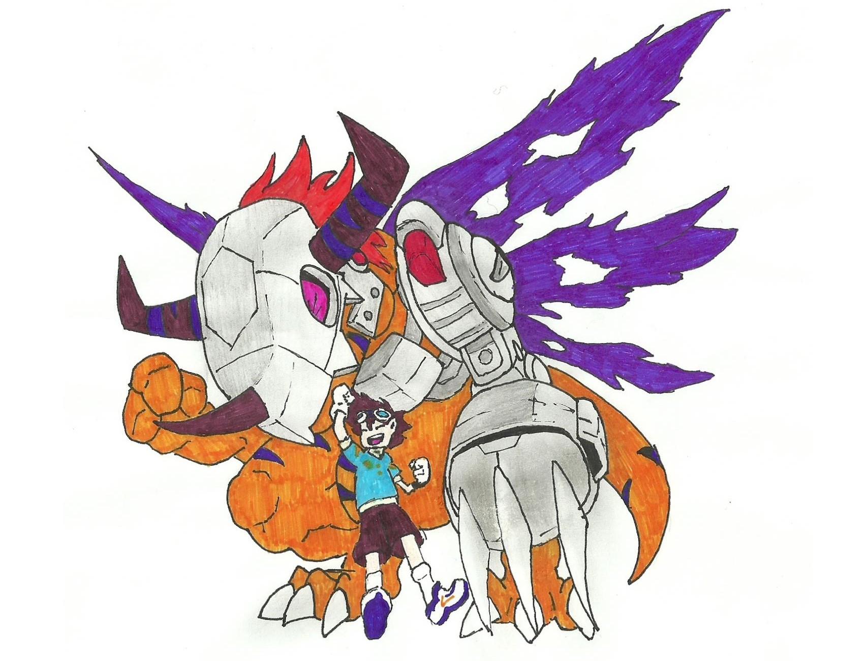Digimon MetalGreymon and Tai