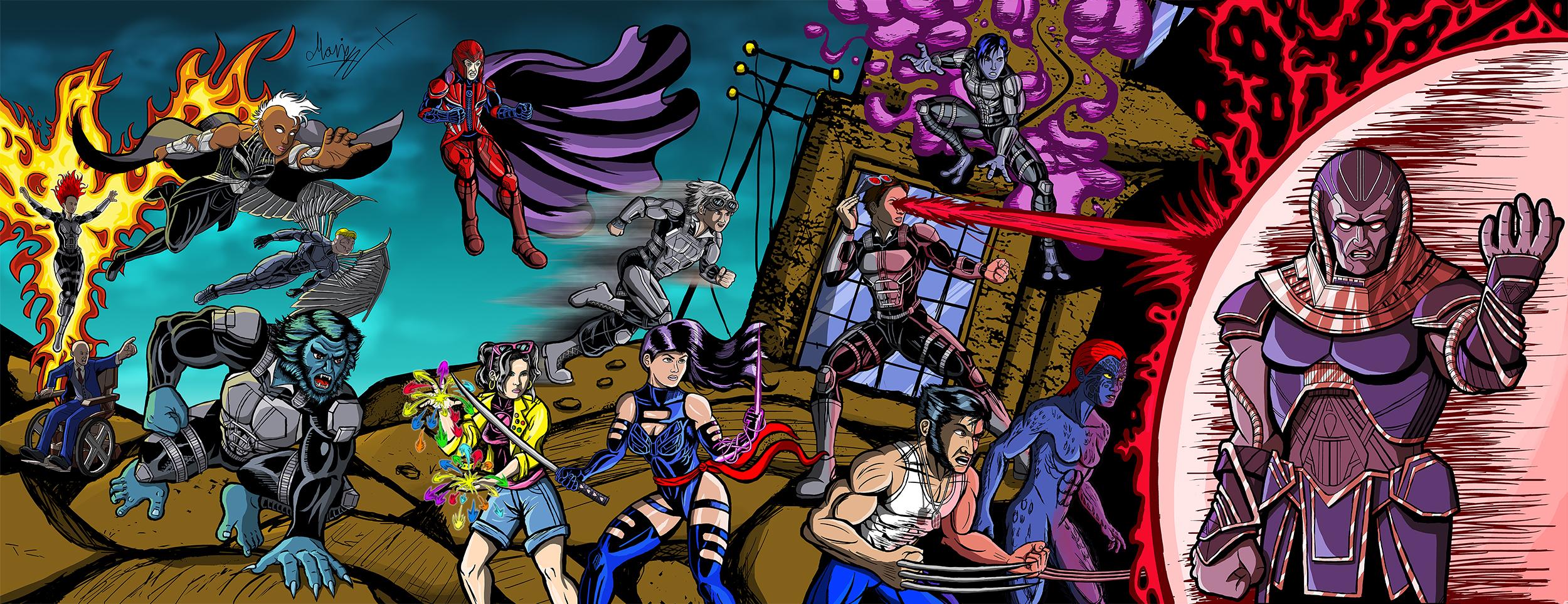 Color X-Men: Apocalypse Jim lee 90's cover Homage