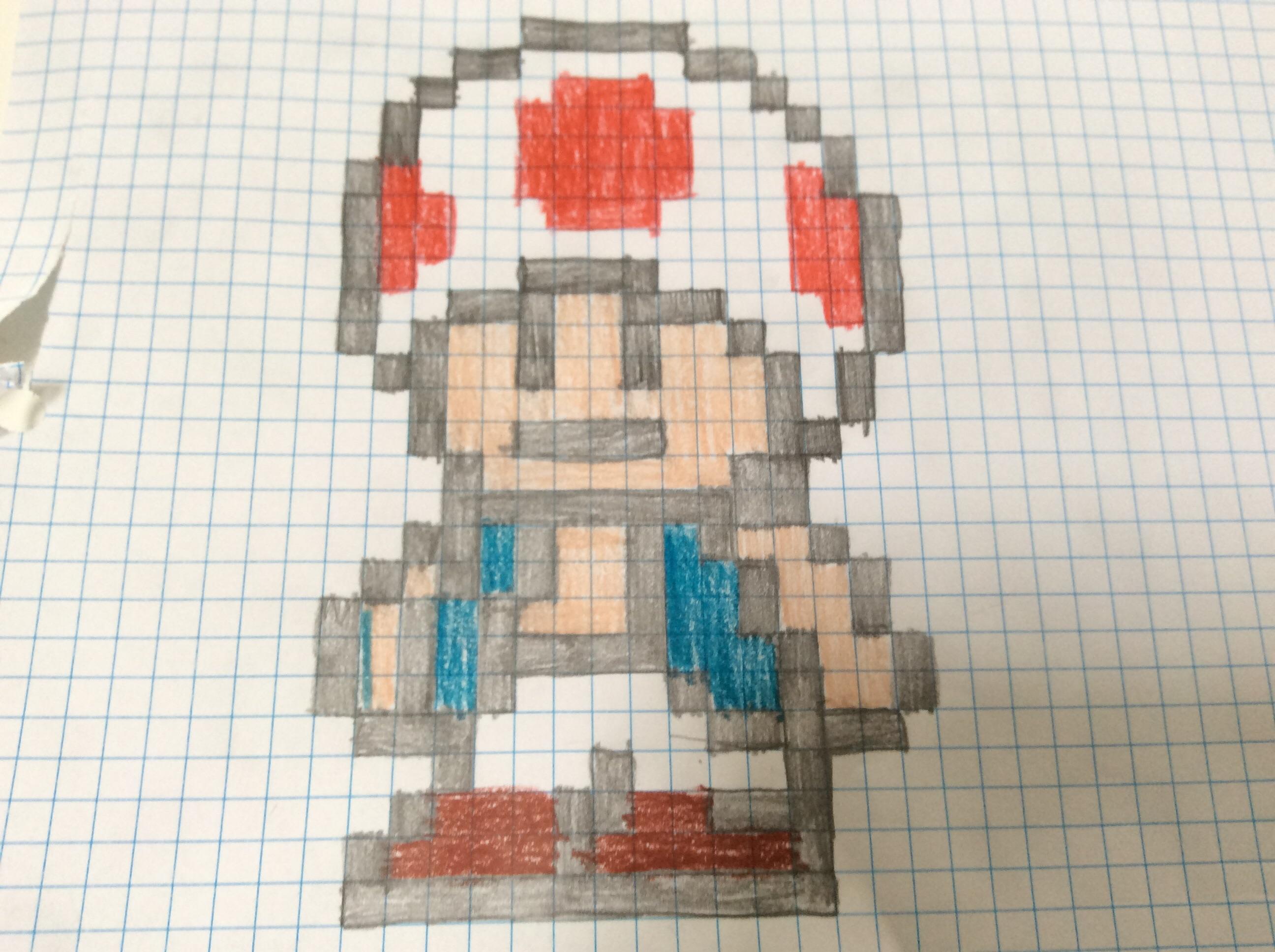 Toad (Mario) Pixel Art on paper