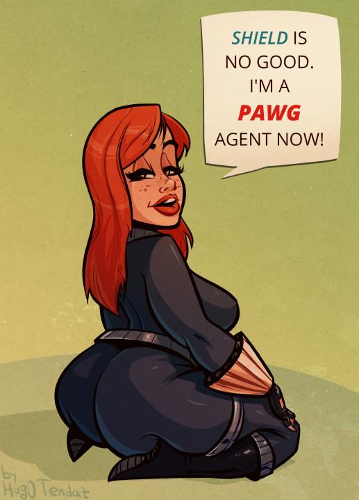 Black Widow -PAWG Agent - Cartoon PinUp