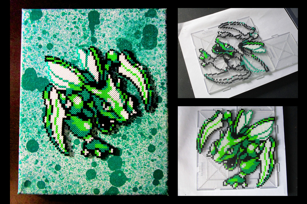 Pokemon's Scyther Made Out of Perler Beads