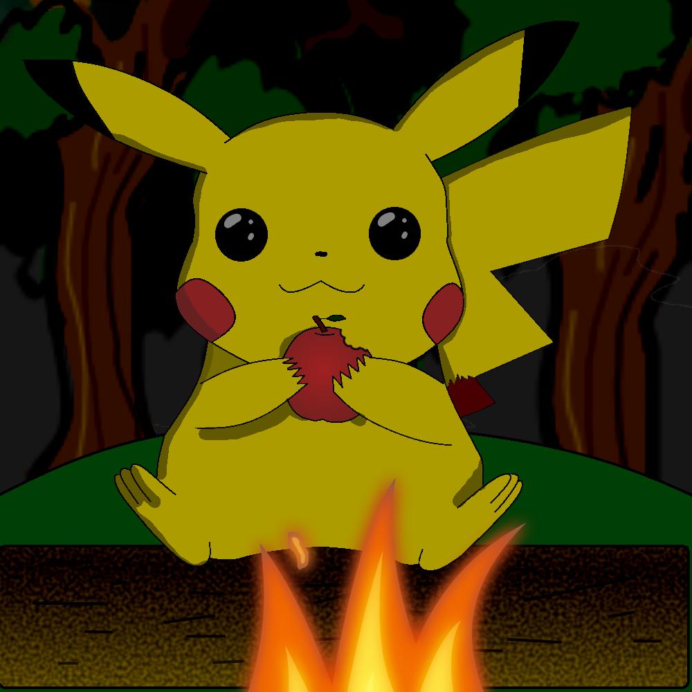Pikachu at a camp fire