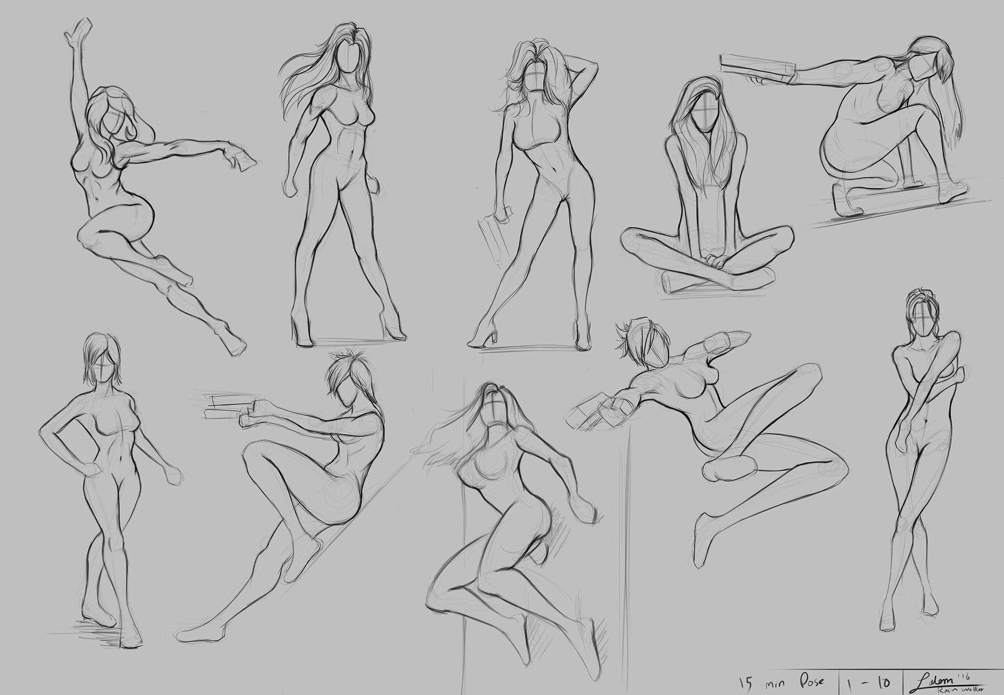 Figure Drawing Part 4/30 (Super-heroine Poses)
